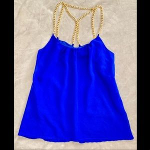 Charlotte Russe Royal Blue Top with Gold Chain